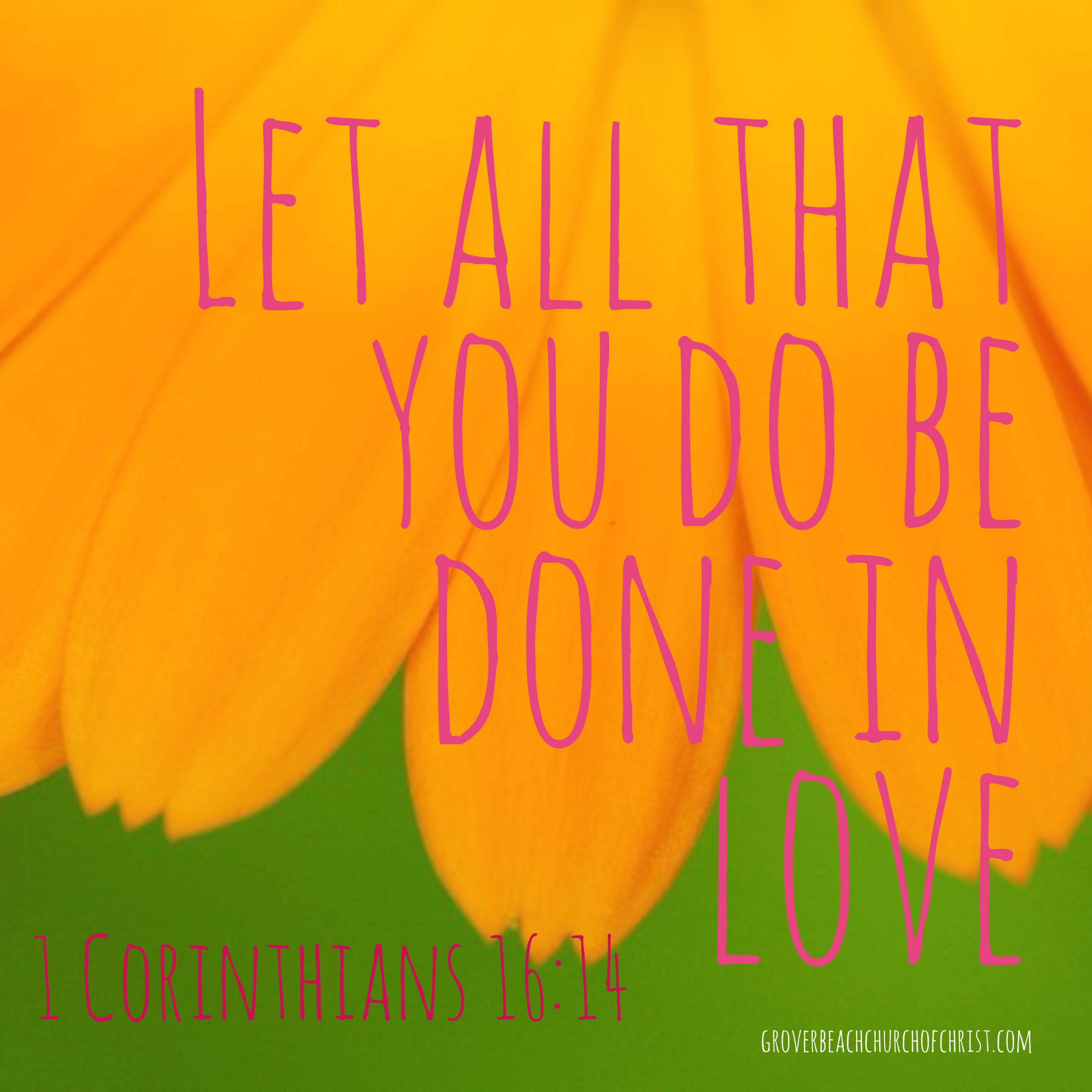 1 Corinthians 16:14 Let all that you do be