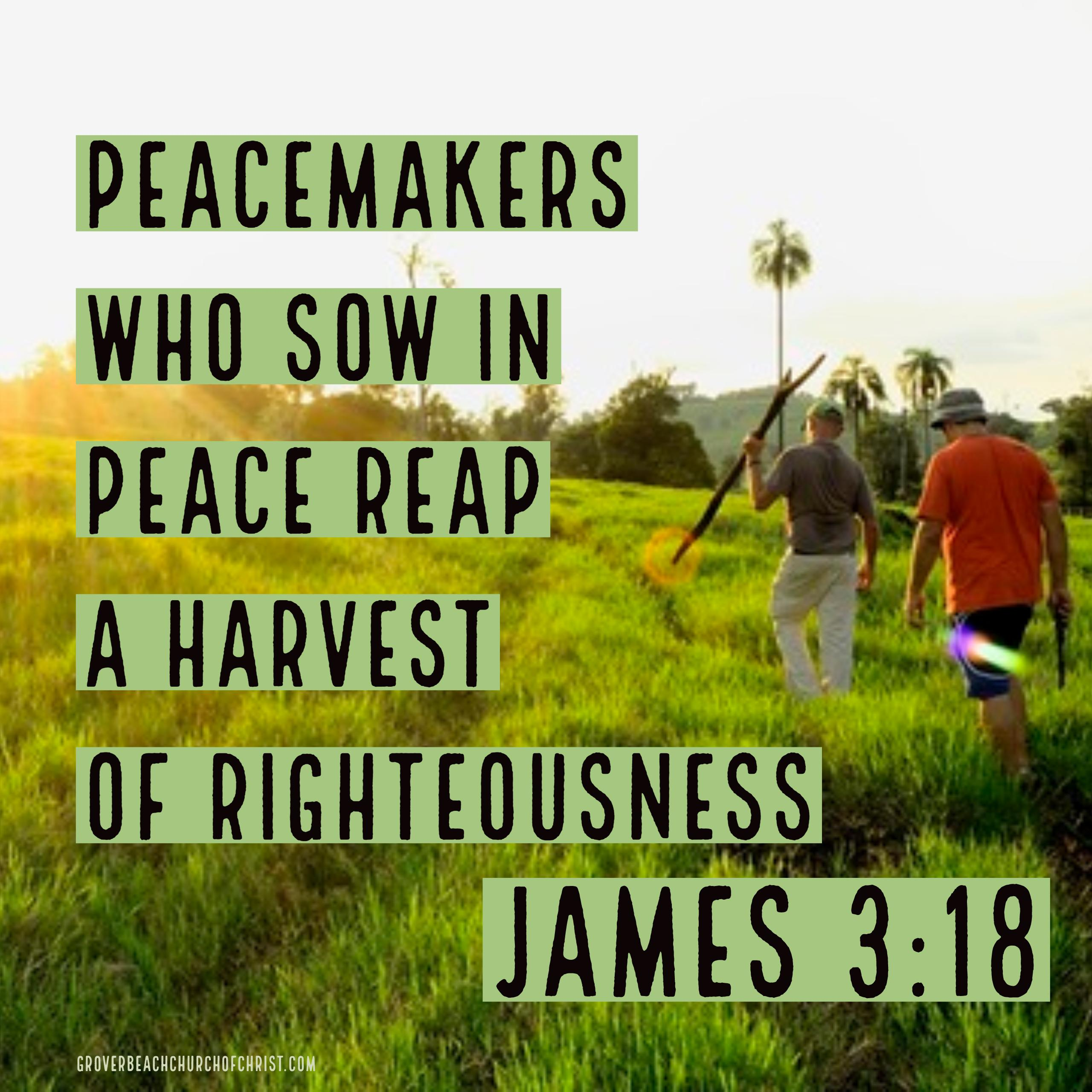James 3:8 Peacemakers who sow