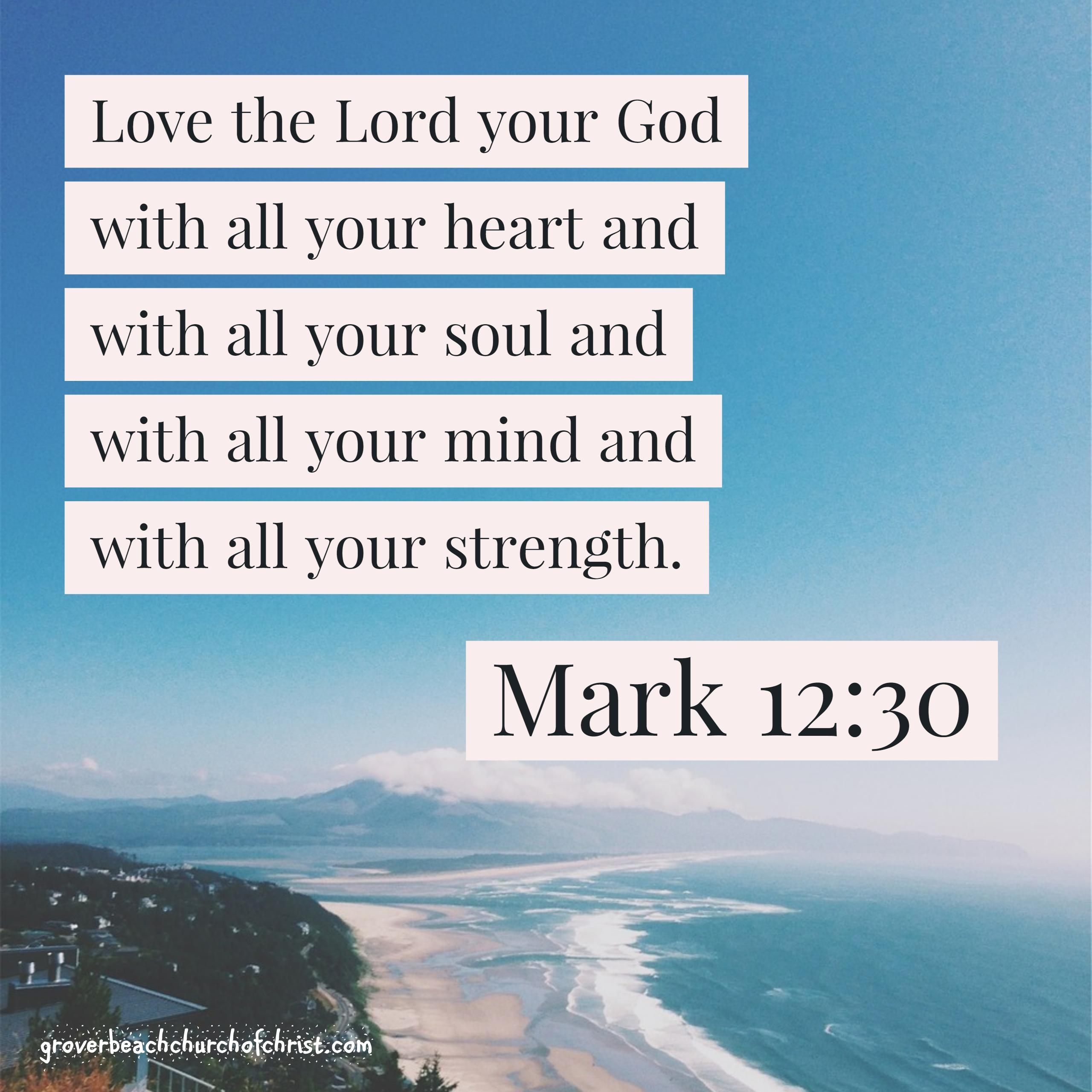 Mark 12:30 Love the Lord with all your heart