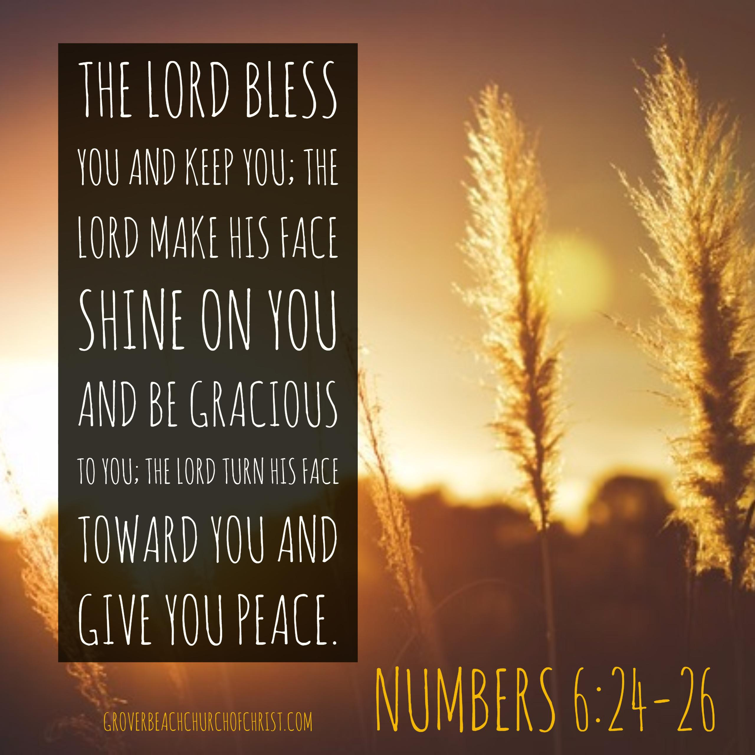 Numbers 6-24, 26 The lord bless you